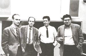 Christian Wolff, Earle Brown, John Cage, and Morton Feldman, Capitol Records Studio, New York City, ca. 1962